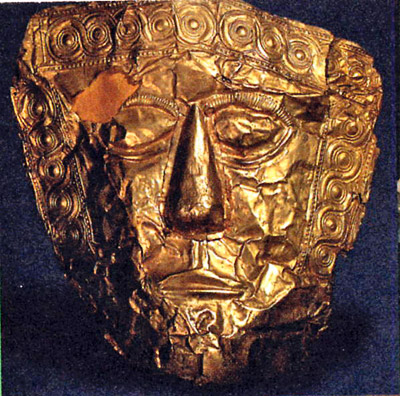 maschera funeraria in oro del VII sec. a. C., cm 18,5 x 17,7. Da Trebenište, tomba IX