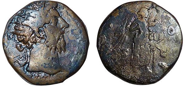 Aqva Fons Vitae. Il conio del dupondio di bronzo, con al dritto la testa dell'imperatore Marco Aurelio e al rovescio una Vittoria alata