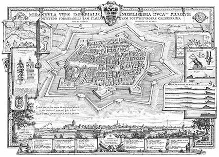 Mirandola, veduta della città come si trovava nei primi anni del XVIII secolo (ricostruzione disegnata nel 1992).
