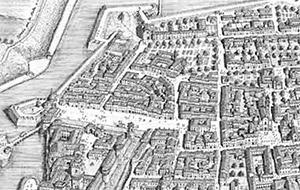 Mirandola, veduta della città come si trovava nei primi anni del XVIII secolo